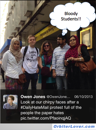 Owen Jones enjoying himself on a march against the Daily Mail
