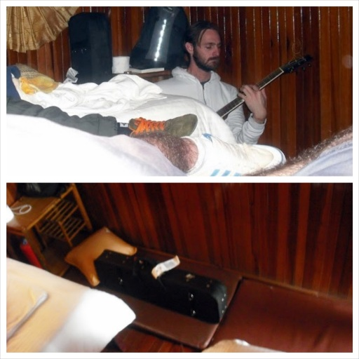 TOP: Andrew Price plays us a melody BOTTOM: Andrew Price's bed for the evening